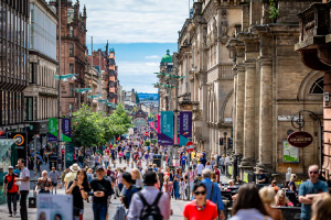 photograph of busy main street in Glasgow